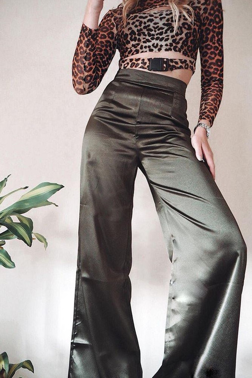 Khaki Satin High Waist Wide Leg Trouser