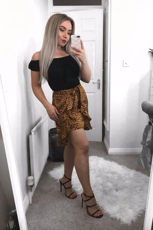 Copper Satin Wrap Mini Skirt