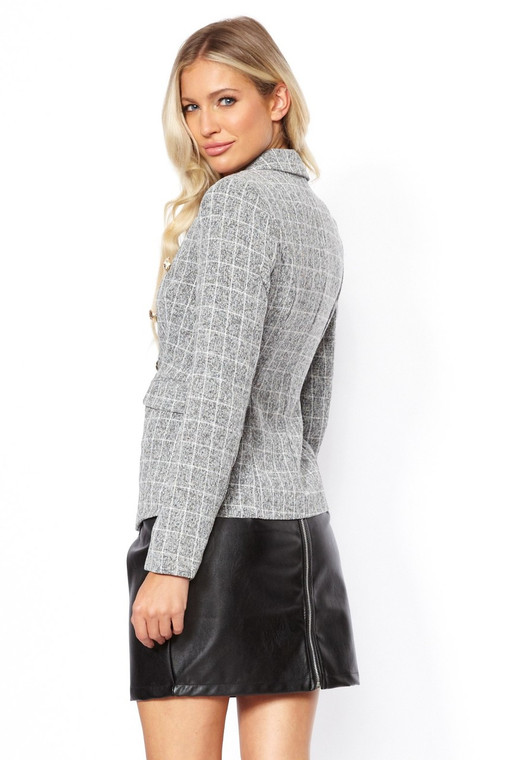 Charcoal Check Button Blazer