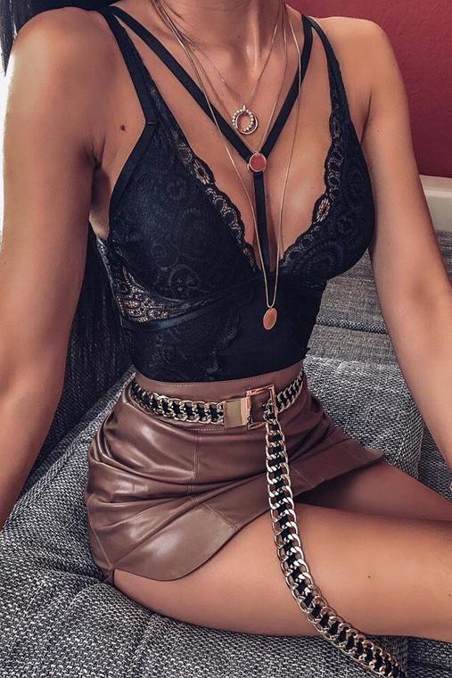 Black Lace Harness Bodysuit