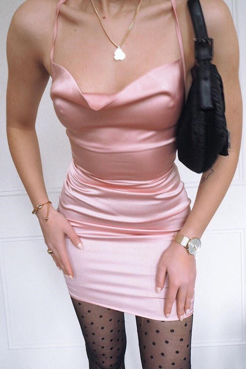 Pink Cowl Neck Satin Mini Dress