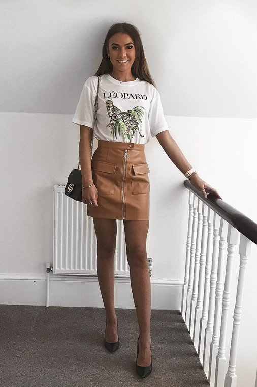 Tan PU Utility Mini Skirt