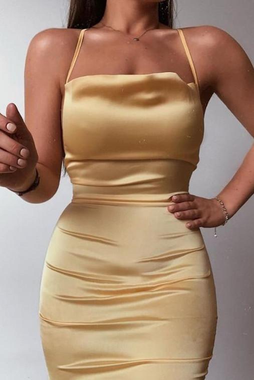 Yellow Cowl Neck Satin Midi Dress