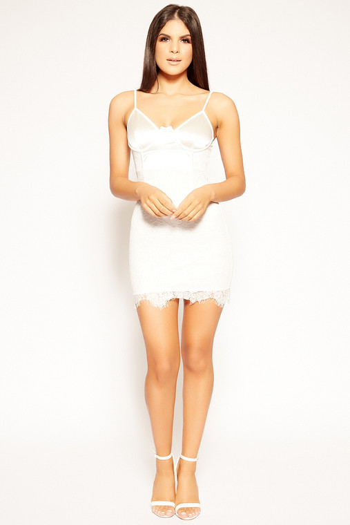 White Satin Top Lace Bodycon Dress