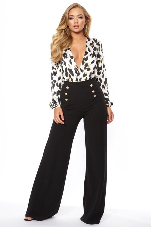 Black Button Flare Trouser
