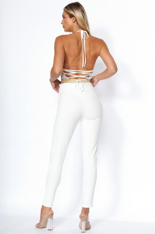 White Button Skinny Trouser