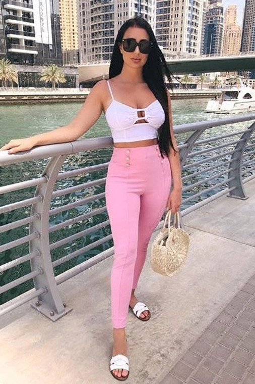 Pink Button Skinny Trouser