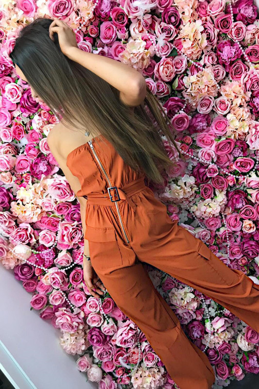 Toffee belted jumpsuit