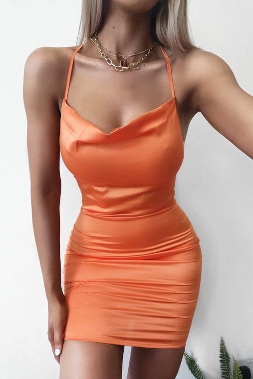 Orange Cowl Neck Satin Mini Dress