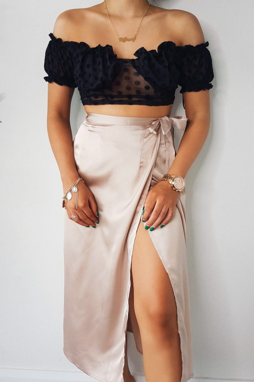 Nude Stain Wrap Midi Skirt