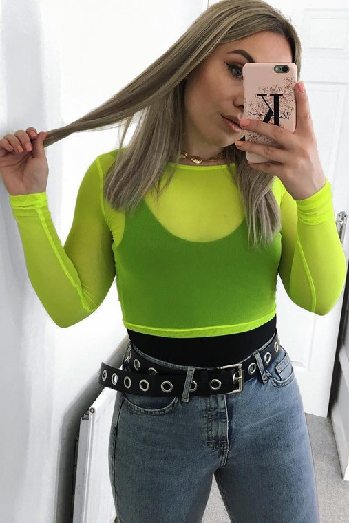 Lime Mesh Crop Top