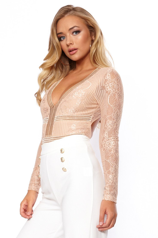 Sand Lace Open Back Bodysuit