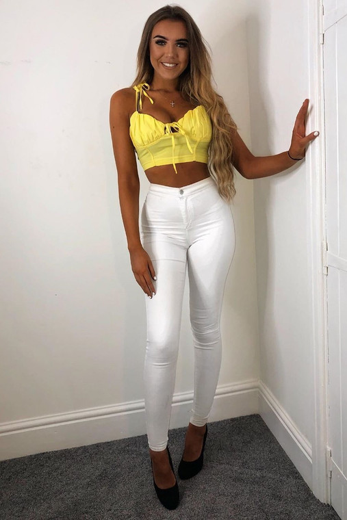 Yellow  Ruched Crop Top