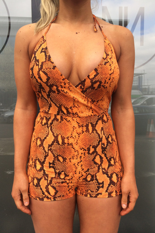 Orange Snake Print Halter Neck Playsuit