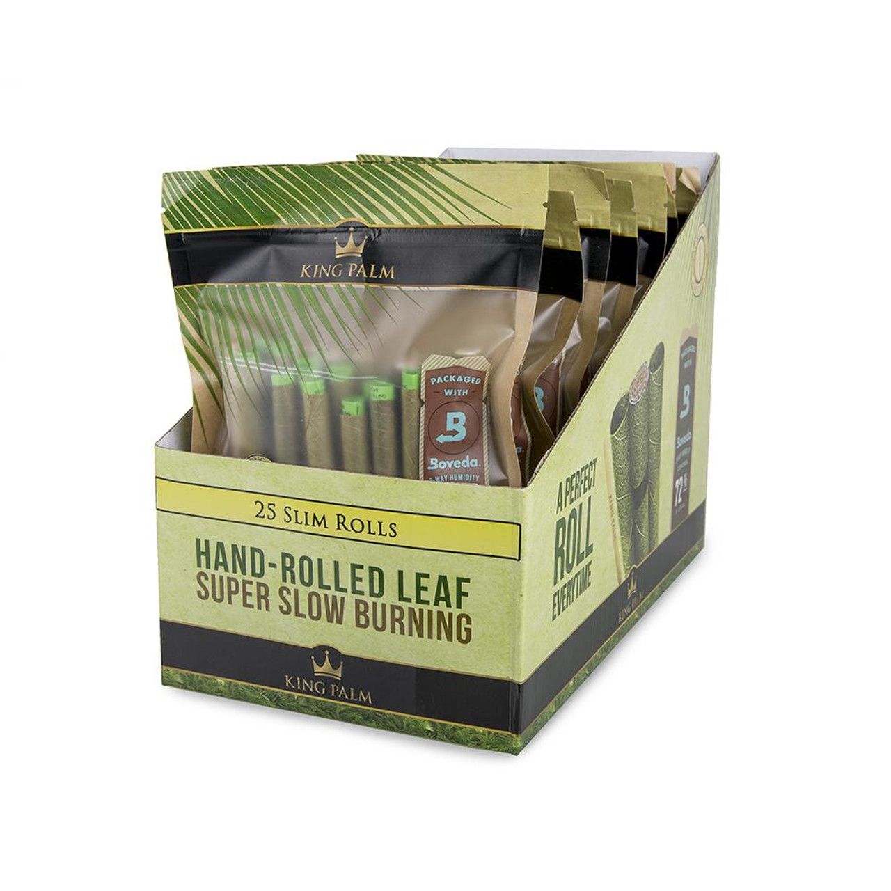 King Palm 25 Slim Rolls Pouch - Display of 8