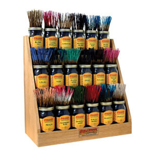 Wildberry Sticks 18 Jar Empty Oak Display