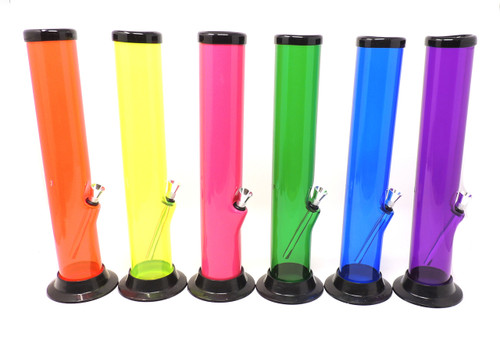 """Acrylic Water Pipe 12"""" Straight (2"""" Diameter) - Assorted Colors"""