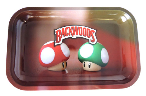 Backwoods Rolling Tray - Mario Mushroom - S/M Backwoods Distributor Backwoods Rolling Tray Distributor UNS Wholesale Smoke Shop Distributor Head Shop Novelty Supplies