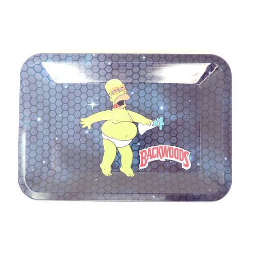 Backwoods Metal Rolling Tray - Naked Homer - S/M UNS Wholesale Smoke Shop Distributor Head Shop Novelty Supplies Rolling tray distributor backwoods distributor