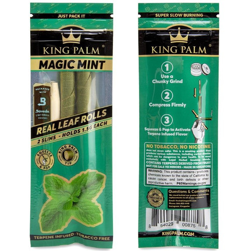 The front and back of a pouch of King Palm Slim Size - Magic Mint wraps.