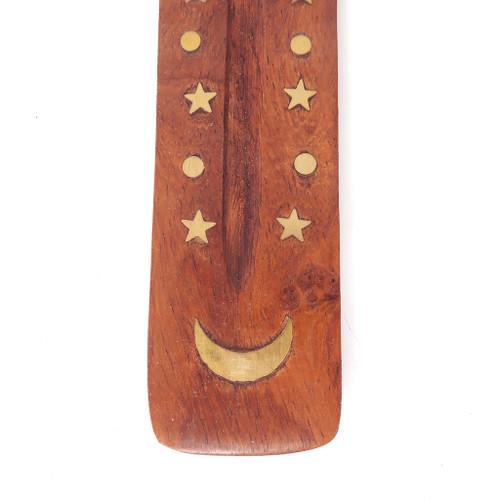 "Star & Moon Mini Wood Canoe Incense Burner 5"" - 12 Pack"
