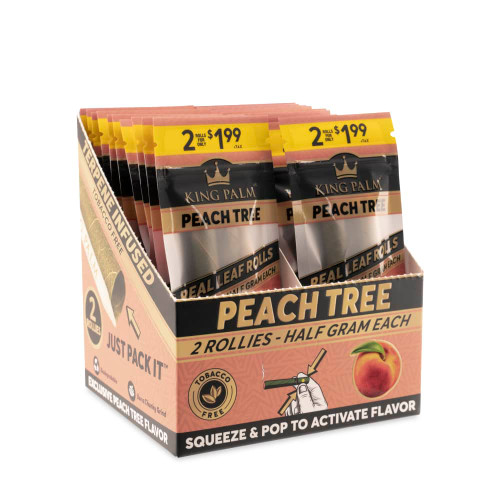 King Palm Rollies 2pk - Pre-Price 1.99 - Peach Tree - Display of 20
