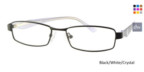 Black/White/Crystal Body Glove BB132 Eyeglasses - Teenager.