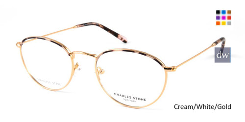 Cream/White/Gold William Morris Charles Stone NY CSNY30046 Eyeglasses.