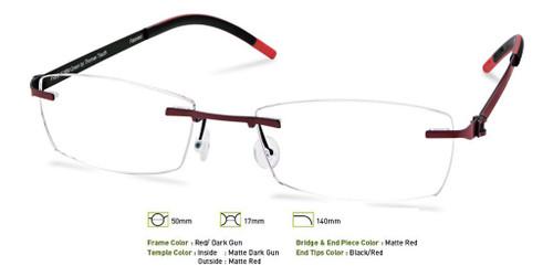 Red/ Dark Gunmetal Free-Form FFA951 Eyeglasses