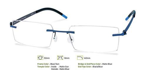 Blue/Gunmetal Free-Form FFA954 Eyeglasses