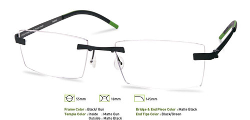 Black/Gunmetal Free-Form FFA956 Eyeglasses