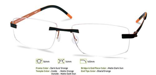 Dark Gunmetal/Orange Free-Form FFA957 Eyeglasses