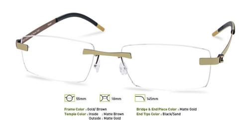 Gold/Brown Free- Form FFA958 Eyeglasses