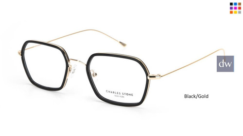 Black/Gold William Morris Charles Stone NY 30056 Eyeglasses - Teenager