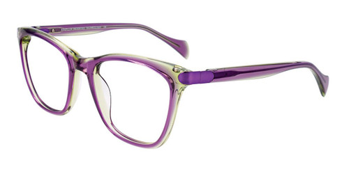Purple/Light Green Crystal/Purple Easy Clip EC519 Eyeglasses - (Clip-On).