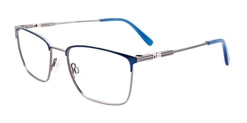 Satin Dark Blue/Steel Easy Clip EC529 Eyeglasses - (Clip-On).