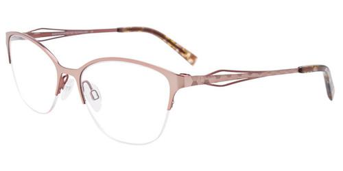 Shiny Light Gold/Brown Easy Clip EC521 Eyeglasses - (Clip-On).