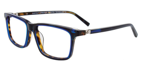 Dark Blue/Demi Amber Easy Clip EC516 Eyeglasses - (Clip-On).