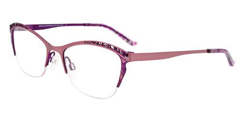 Matte Light Pink/Satin Purple Easy Clip EC522 Eyeglasses - (Clip-On).