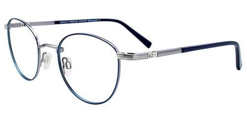Satin Blue/Shiny Grey Easy Clip EC506 Eyeglasses - (Clip-On).