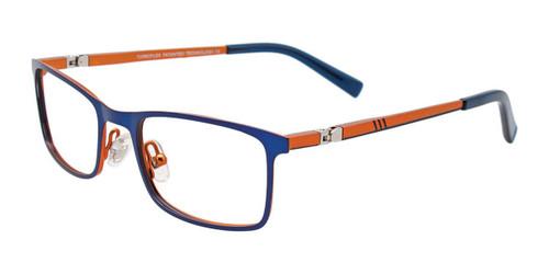 Matte Blue/Matte Orange Easy Clip EC492 Eyeglasses.