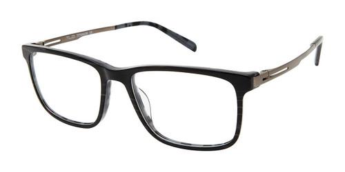 C01 Black Striation Tlg NU044 Titanium Eyeglasses.