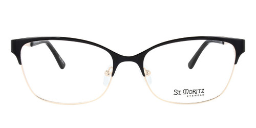 Black/Gold ST. MORITZ Daphne Eyeglasses.