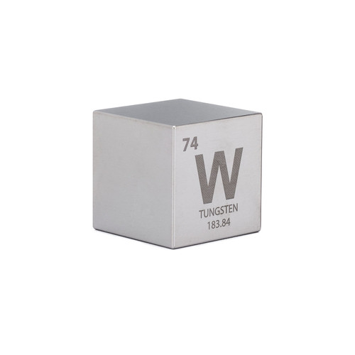 "Tungsten 1.5"" One Kilo Cube - Engraved Periodic Table Symbol"