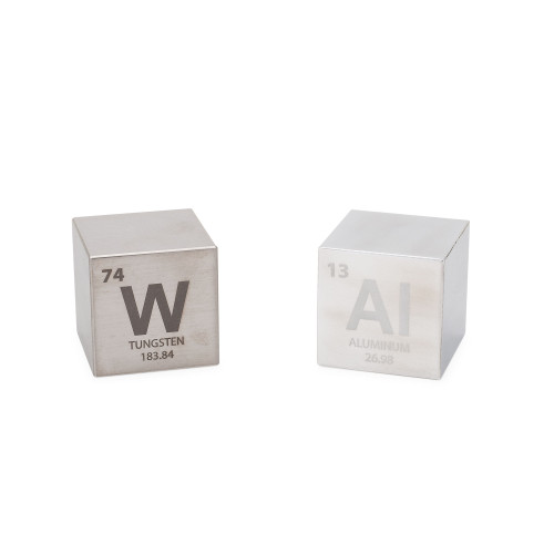 "Tungsten & Aluminum 1.5"" Cube Set - Engraved Elemental Symbol"