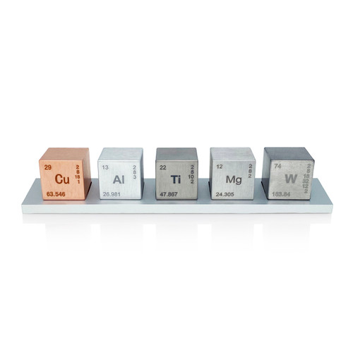 "Element 1"" Cube Set (Tungsten Alloy, Copper, Titanium, Aluminum, Magnesium)"