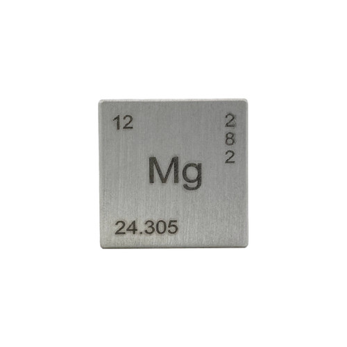 Magnesium Element Cube - Engraved - 1""
