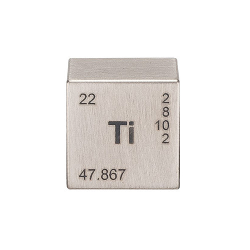 Titanium Element Cube - Engraved - 1""