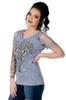 Women's Sliced Short Sleeve Shirt - Cross and Wings - SKU 7746-DS