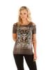 Women's Sliced Front Shirt - Devilish Design - SKU 7725GRY-MW-DS